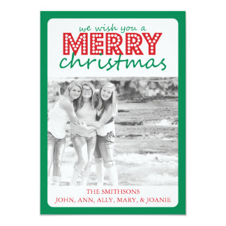 Cheery Merry Christmas Card (Green / Red)