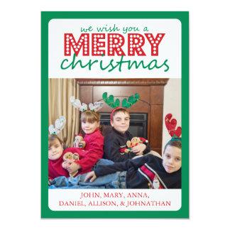 Cheery Merry Christmas Card (Green / Red) 13 Cm X 18 Cm Invitation Card