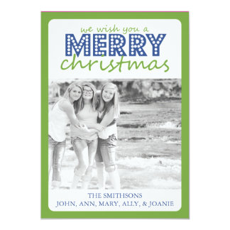 Cheery Merry Christmas Card (Pale Green / Blue)