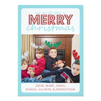 Cheery Merry Christmas Card (Teal / Burgandy) 13 Cm X 18 Cm Invitation Card