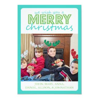 Cheery Merry Christmas Card (Teal / Green) 13 Cm X 18 Cm Invitation Card