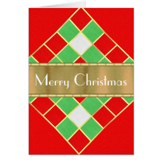 Cheery red, green, white with gold Christmas Card