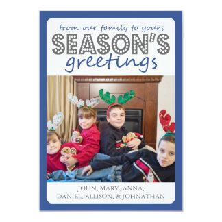 Cheery Season's Greetings Card (Blue / Gray) 13 Cm X 18 Cm Invitation Card