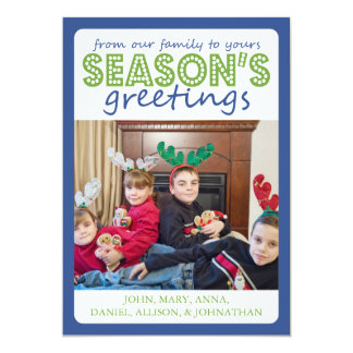 Cheery Season's Greetings Card (Blue / Pale Green) 13 Cm X 18 Cm Invitation Card