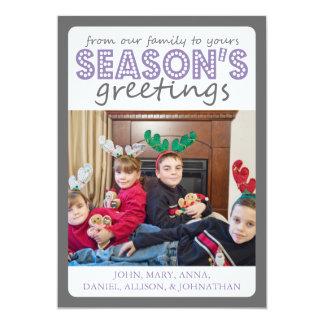 Cheery Season's Greetings Card (Gray / Purple) 13 Cm X 18 Cm Invitation Card