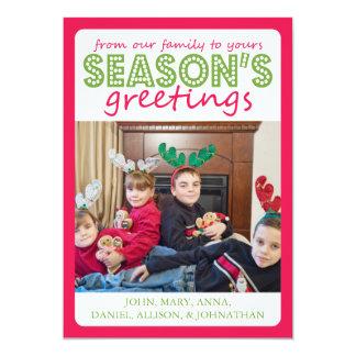 Cheery Season's Greetings Card (Pale Red / Green) 13 Cm X 18 Cm Invitation Card