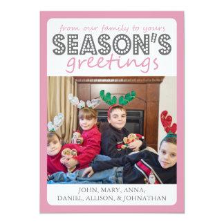 Cheery Season's Greetings Card (Pink / Gray) 13 Cm X 18 Cm Invitation Card