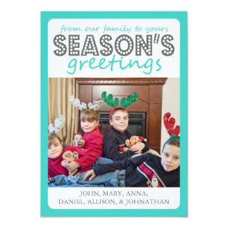Cheery Season's Greetings Card (Teal / Gray) 13 Cm X 18 Cm Invitation Card