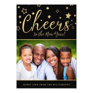 Cheery Stars Photo New Year's Card 13 Cm X 18 Cm Invitation Card