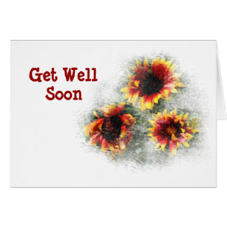 Cheery Variegated Sunflowers Get Well Card