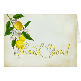 Cheery Watercolor Lemons and Flowers Thank You Card