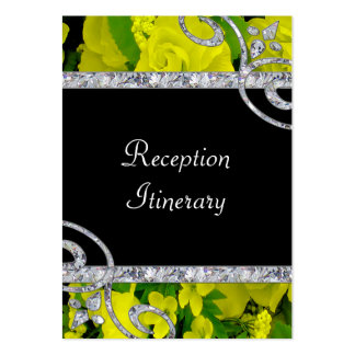 Cheery Yellow Roses & Diamond Swirls Wedding Large Business Cards (Pack Of 100)