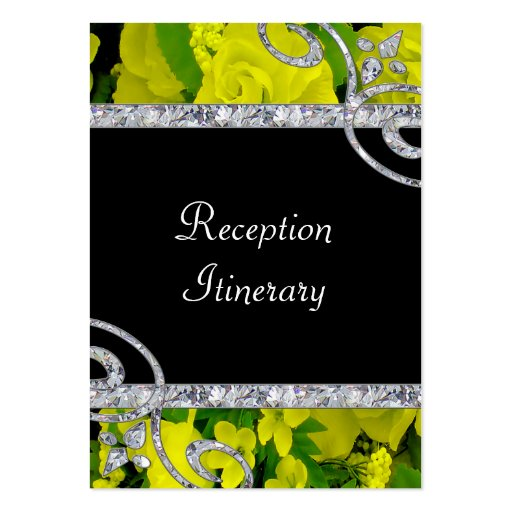 Cheery Yellow Roses & Diamond Swirls Wedding Business Card
