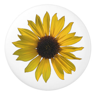 Cheery Yellow Sunflower Ceramic Knob
