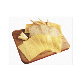 Cheese and Bread Stretched Canvas Print