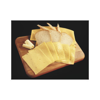 Cheese and Bread Stretched Canvas Prints
