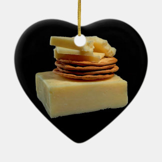 CHEESE AND CRACKERS SNACK - CHEESE SNACK CERAMIC HEART DECORATION