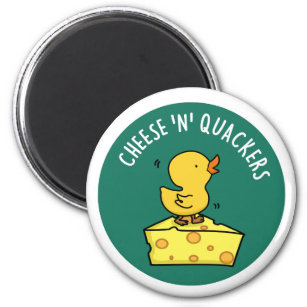 Christmas Cheese Puns.Cheese And Quackers Cute Duck And Cheese Pun Magnet