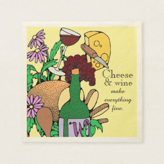 Cheese and Wine Lunch Disposable Napkins