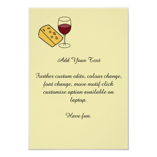 Cheese and Wine Party Custom Yellow Invitation