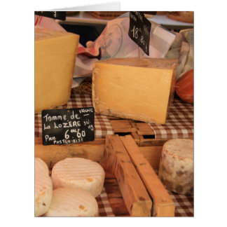 Cheese at a market greeting cards