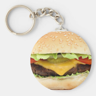 Cheese burger basic round button key ring