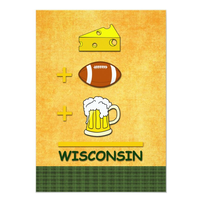 Cheese Football Beer Wisconsin 13 Cm X 18 Cm Invitation Card