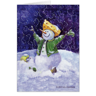 Cheese head football fan snowman greeting card