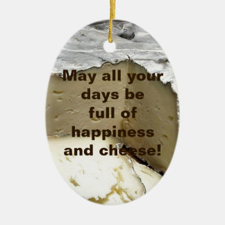 Cheese it up! Fun Cheese Gift for cheese lovers Double-Sided Oval Ceramic Christmas Ornament