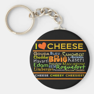 Cheese Lovers Basic Round Button Key Ring