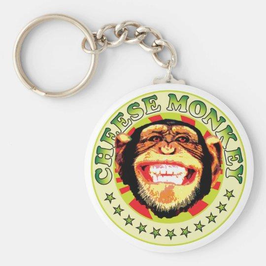 Cheese Monkey Basic Round Button Key Ring