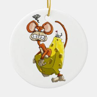 Cheese Monkey Round Ceramic Decoration