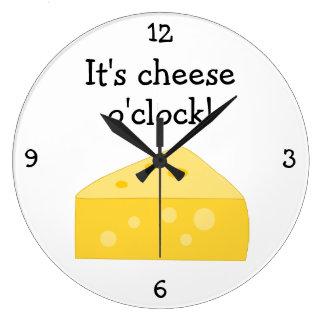 Cheese O'Clock fun food graphic Large Clock
