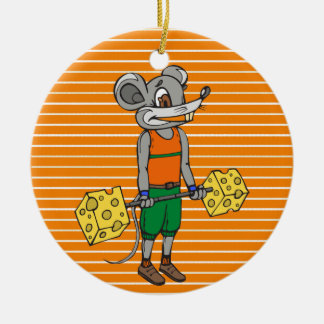 Cheese Weightlifting Mouse Round Ceramic Decoration