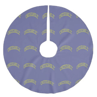 Cheeseaholic Cheese Lover - Blue Background Color Brushed Polyester Tree Skirt