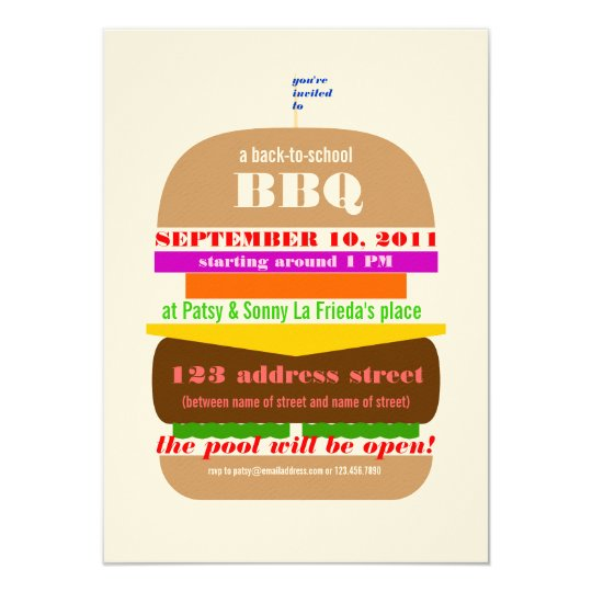 Cheeseburger BBQ Cookout Invitation Template