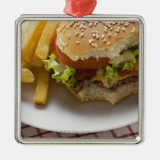 Cheeseburger, bites taken, with chips christmas ornament