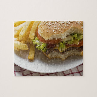 Cheeseburger, bites taken, with chips jigsaw puzzle