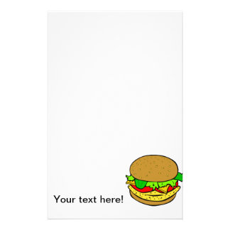 Cheeseburger cartoon custom stationery