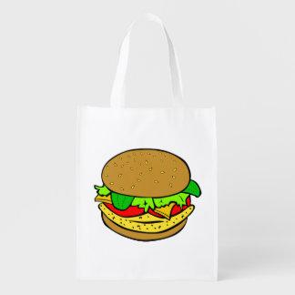 Cheeseburger cartoon reusable grocery bag
