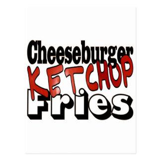 Cheeseburger Ketchup Fries Post Card