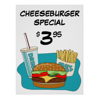 Cheeseburger Poster with Fries and Drink
