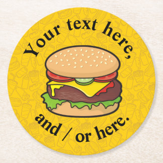 Cheeseburger Round Paper Coaster