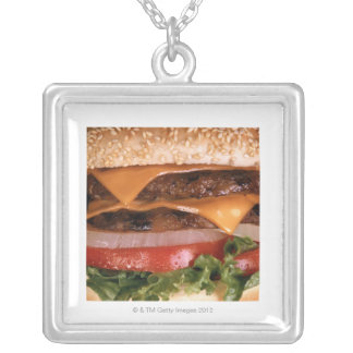 Cheeseburger Silver Plated Necklace