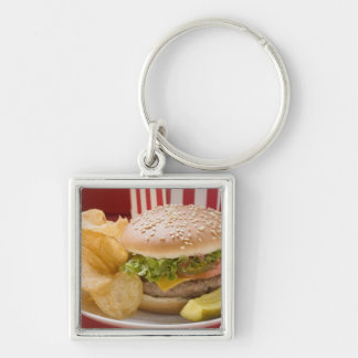Cheeseburger with potato crisps and gherkin Silver-Colored square key ring