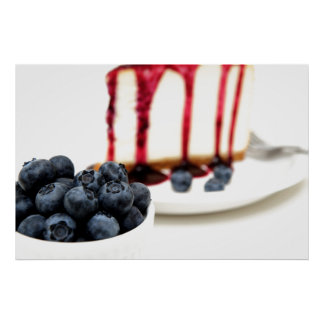 Cheesecake And Blueberries Posters