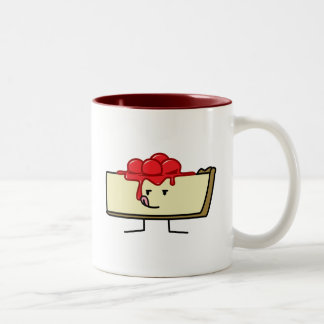 Cheesecake licking cherries topping pie crust Two-Tone coffee mug