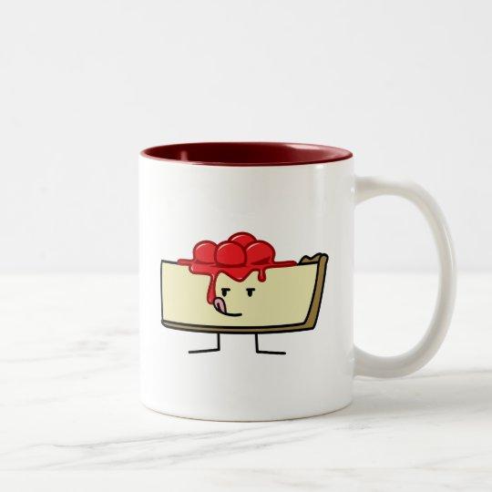 Cheesecake licking cherries topping pie crust Two-Tone coffee mug