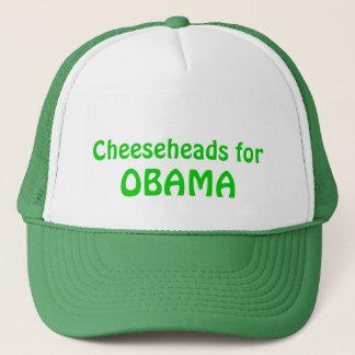 Cheeseheads for Obama Trucker Hat, Green Trucker Hat