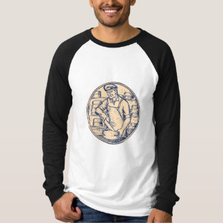 Cheesemaker Cutting Cheddar Cheese Etching Tee Shirts